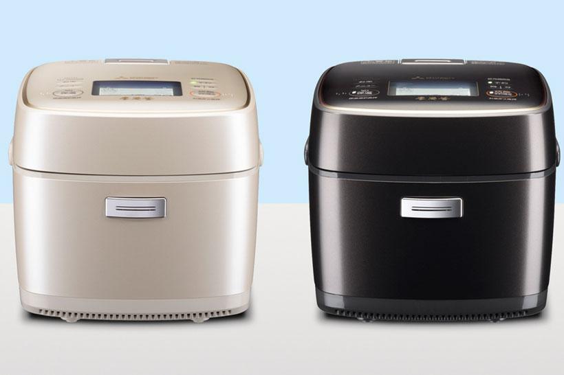 ↑「本炭釜 KAMADO」NJ-AW108。カラバリは左が黒銀蒔で右が白和三盆