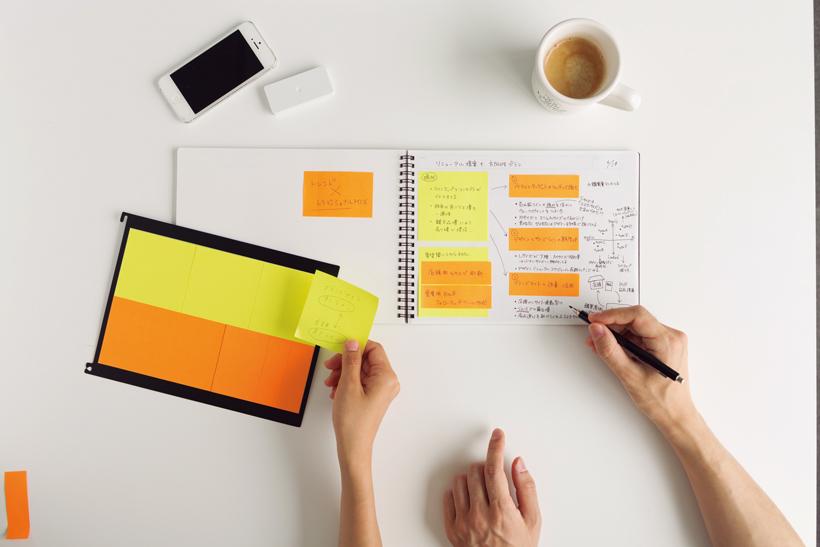 ↑アイデアを編集するためのノート&付箋セット