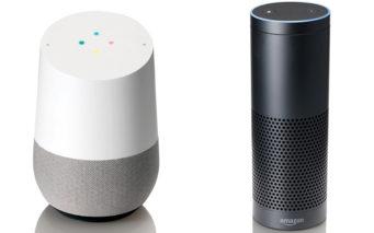 ↑Google Home(左)とAmazon Echo(右)
