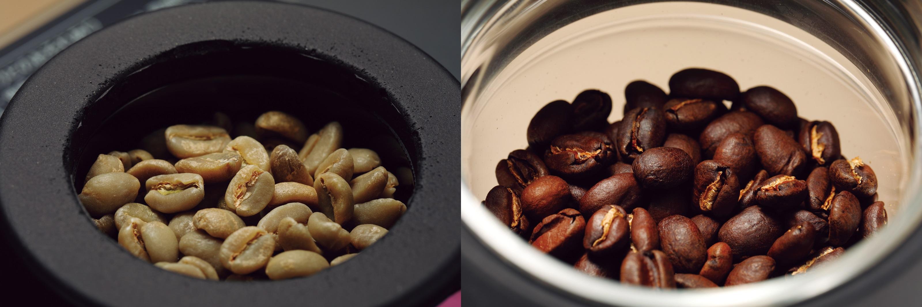 ↑ 熱風式焙煎により、最大15分の所要時間で香ばしく焙煎。毎月届く異なる種類の生豆に合わせ、2〜3種の焙煎プロファイルがアプリ上で選択できる