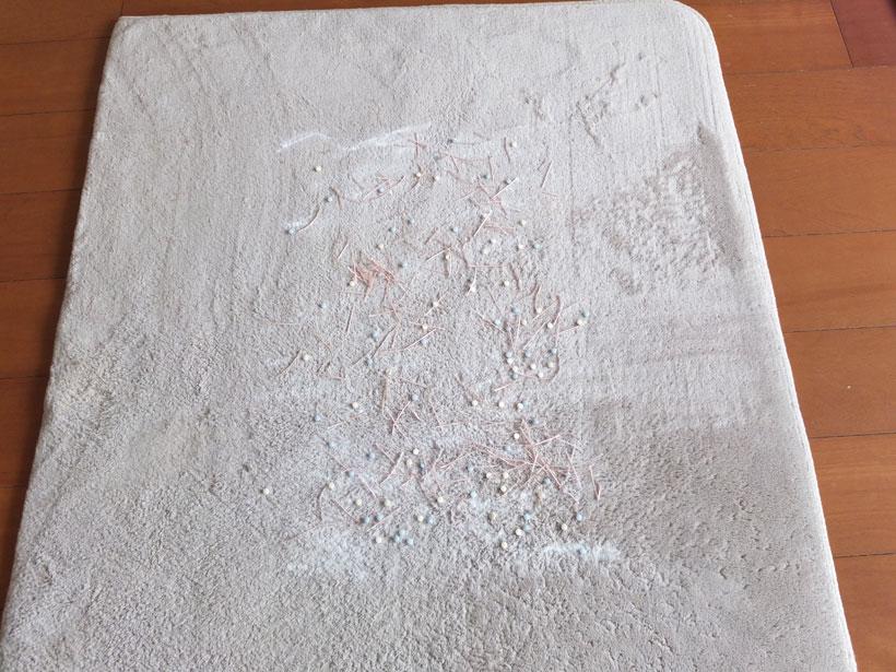 ↑カーペット上にこのようにゴミを撒いて、検証しました。使用するカーペットは毛足が短いものの、重曹は繊維の奥に沈み、紙ゴミも毛に絡まりがちです