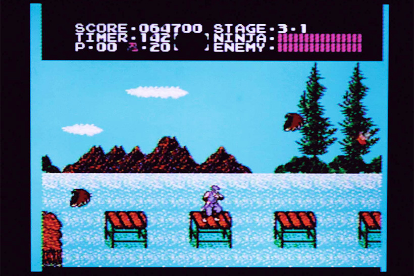 ↑湖上から始まる3面。鳥はザコなの に、体力ゲージを3も奪う強敵。しか も突進してくるので、押されて穴に落 ちて即死もあり得る……