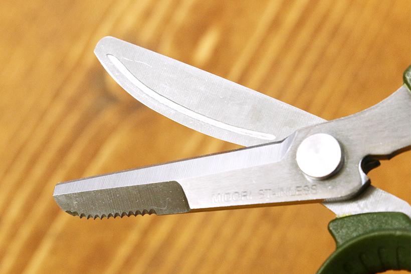 ↑両方の刃の裏には溝彫りが。粘着材が刃に付いても簡単に取ることができる