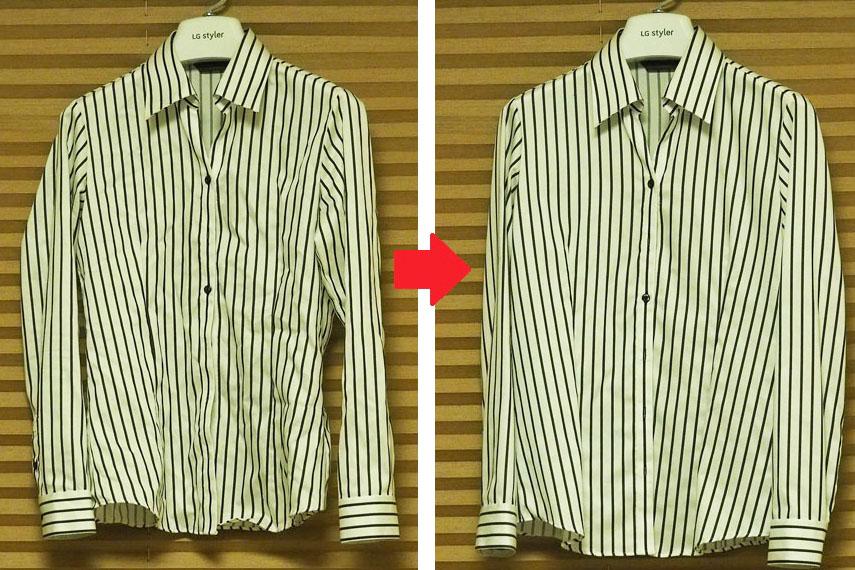 ↑アイロンをかけていないポリエステル混のYシャツを「リフレッシュコース(標準)」にかけたところ。ここまでシワが伸びれば、個人的にはアイロンは必要ありません。ちなみに、綿100%や麻100%のシャツは、もう少しシワが残ります