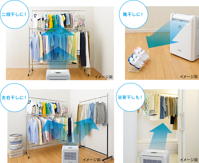 ↑「部屋干し3Dムーブアイ」と「3次元広角狙えルーバー」で、洗濯物の位置や量、状態を見極め、乾き残しを防ぎます