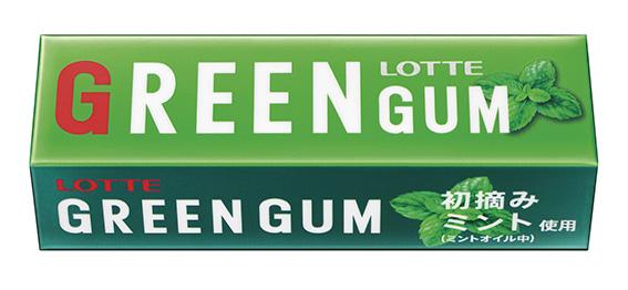 ↑2014年にリニューアルされ、現在まで続く「グリーンガム」の最新パッケージ。粒ガムが市場のメインとなりつつも、板ガムの「グリーンガム」は根強い人気を誇っている