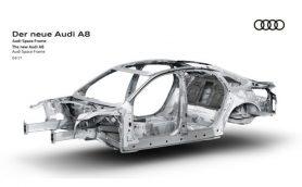まずは「骨」だけをチラ見せ! アウディ新型A8はより先進的ボディ構造を採用?