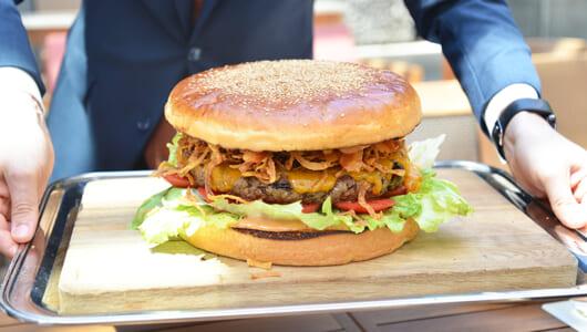 人の顔よりふた回りはデカイ! 「グランド ハイアット 東京」に現れた巨大バーガーは見た目も味もモンスター級だ