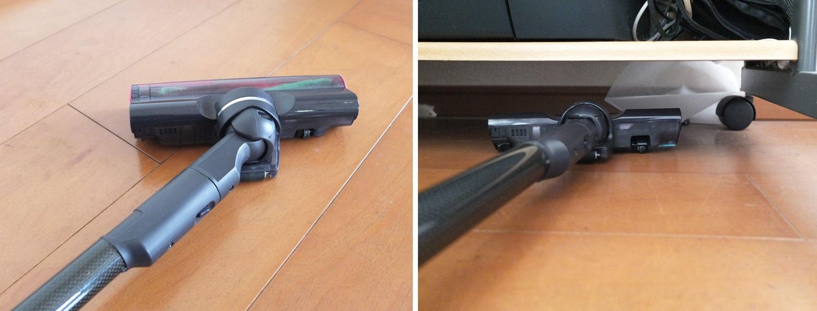 ↑ヘッドと延長パイプのジョイント部の可動域は広く、左右90°ずつ回転(写真左)、高さ10.5cmのPCデスクの下も余裕で掃除できます(写真右)
