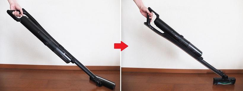 ↑写真上は通常の掃除機がけ。写真下はノズルをI字型に立てて使う場合。ハンドルを180°回転させることでヘッドが自動で立ち、家具の隙間などの掃除ができるようになります。ヘッドが立つ動きもスムーズです
