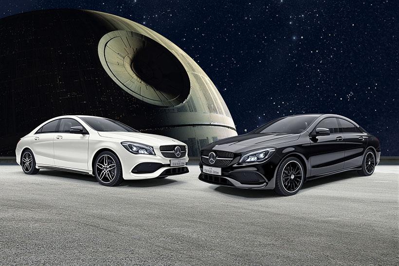 ↑CLA 180 STAR WARS Editionは、カルサイトホワイトとナイトブラックの2種類を、それぞれ限定60台用意
