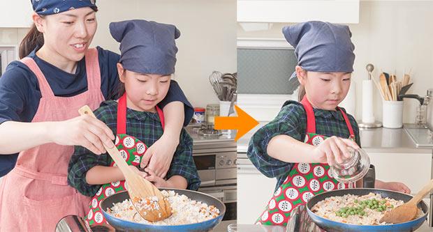 ↑もち米が入ると混ぜるのも大変なので、ママにバトンタッチ(左)、最後にグリンピースを入れます(右)