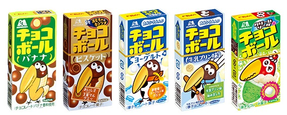 ↑特に2000年以降に増えた数々のフレーバー。左から「バナナ(2002年)」、「ビスケット(2004年)、「ヨーグルト(2008年)」、「牛乳プリン味(2009年)」、「クリームソーダ味(2011年)」