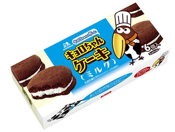↑2008年発売の「キョロちゃんケーキ」。チョコケーキでクリームをサンドした商品で、パッケージにはパティシエ姿のキョロちゃんが描かれている