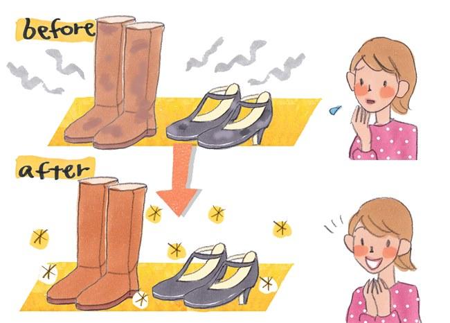 トゥトゥモロウ 美靴パックは丸洗いで除菌し、抗菌・防臭加工するので靴がリフレッシュ。カビの生えたブーツや起毛素材のパンプスが見事に新品同様の輝きを取り戻します。ブーツもブーツキーパーを入れて自然乾燥させるので型崩れの心配もなし
