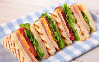 59005446 - summer picnic club sandwich ham and cheese in a row