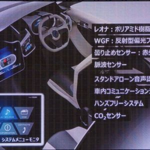 ↑車内には音声認識機能をはじめ、窓の曇りを赤外線で検知するシステムなど旭化成が持つ最先端技術を盛り込む