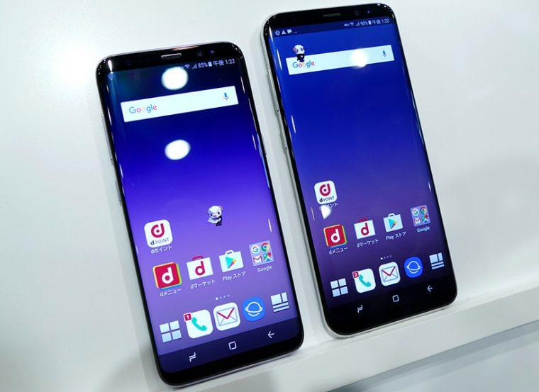 ↑Galaxy S8 SC-02J(左)とGalaxy S8+ SC-03J(右)。どちらも6月上旬発売予定