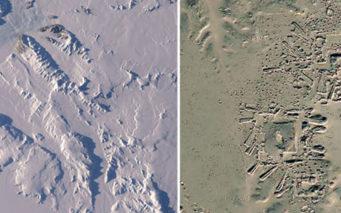 アトラスが撮影した氷床のレーダー画像(右)に構造物のようなものが写っていた。左は実際の氷床の画像。