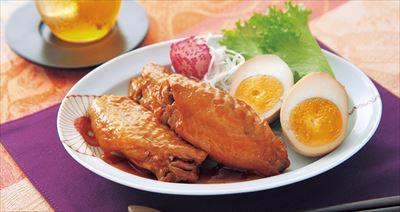 ↑調理例の鶏とゆで卵の甘辛煮