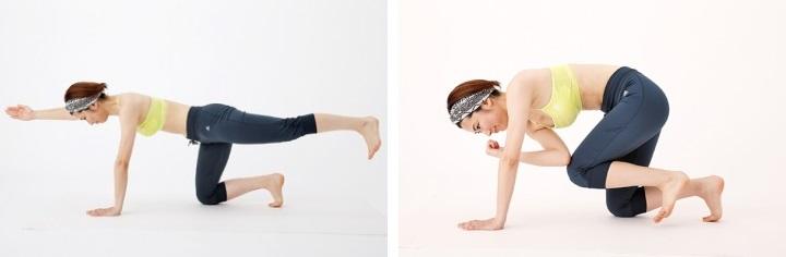 縦、横、斜めとさまざまな角度から体を刺激するコアトレで、カラダの軸を強化することも有効です。伸ばした手足をカラダをねじりながら寄せることで、より強くお腹をしぼる「クロスタッチバランス」。まずは床に両手両足を真下に伸ばし、つきます。右腕と左脚を前後に伸ばし、右手から左足かかとのラインが一直線、かつ水平になるように。続いて、右肘・左膝を曲げて、胸の下で肘と膝(左脚を床から離したまま)をつけることで、お腹を軸にカラダをねじります。これを左右交互に10回、2セット行いましょう。