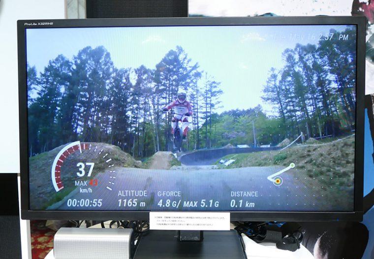 ↑「Action Overlay」モードのデモ映像。アウトドアスポーツで、「移動スピード」や「衝撃」をリアルタイムに測定しながら動画を撮影できるため、趣味用途だけでなく競技者向けの活用も期待される