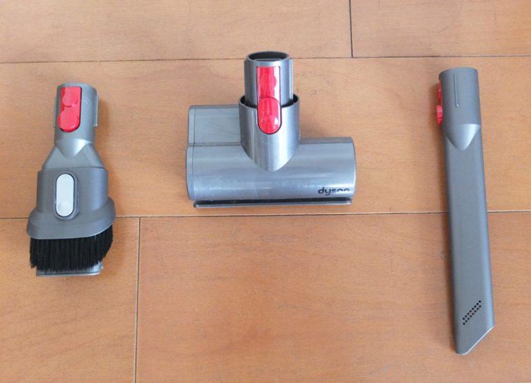 ↑左からコンビネーションノズル、ミニモーターヘッド、隙間ノズル