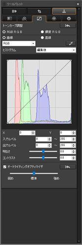 ↑トーン調整ツールパレット。「RGB」と記されたプルダウンメニューをクリックし、R、G、Bの個別のチャンネルに切り替えれば、各色の調整ができる