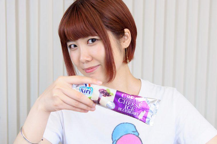 ↑井村屋 クリームチーズアイス ブルーベリー 130円(税別)
