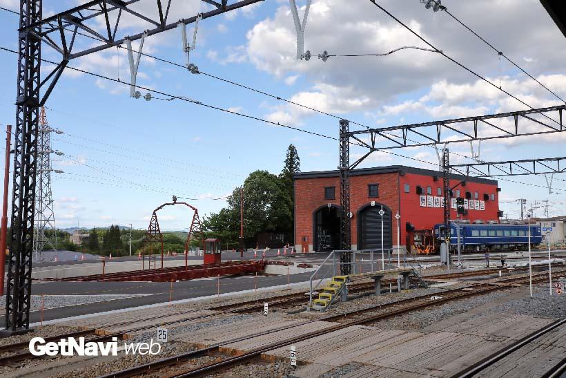 ↑下今市駅の北側には転車台とSL機関庫が設けられ、見学用の跨線橋の工事も進む