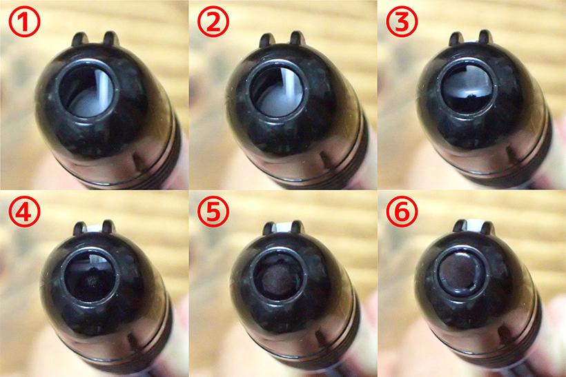 ↑ノックすると①~⑥のように、乾燥防止のシャッターを押し上げて先端チップが出てくる