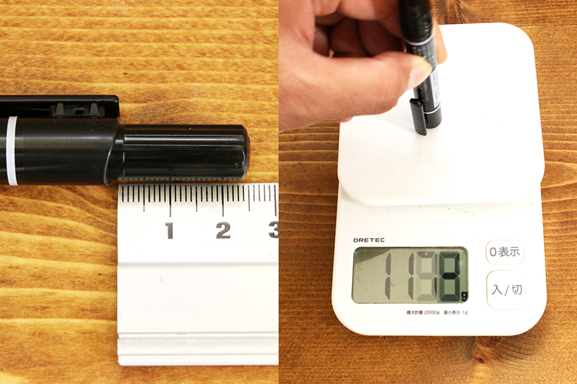 ↑ノックを押し込むのに必要な力は約1.1kgで、初めて使うと「おもっ!」と驚く。ちなみに、ノック式ボールペンならだいたい1ノック0.3kgぐらい