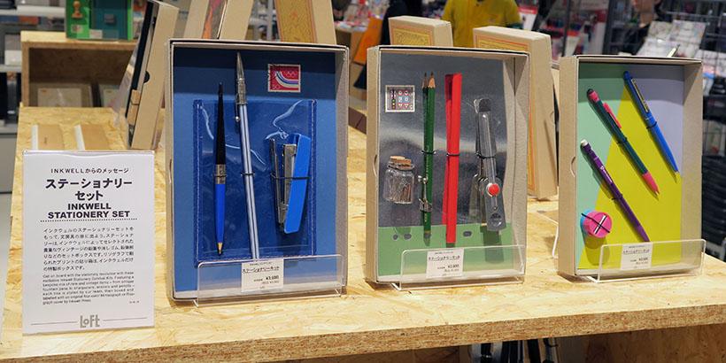 ↑ラインナップはペンやノートの単品から、ステーショナリーセットといった文房具一式まで、日本ではなかなか見ることができない商品が中心