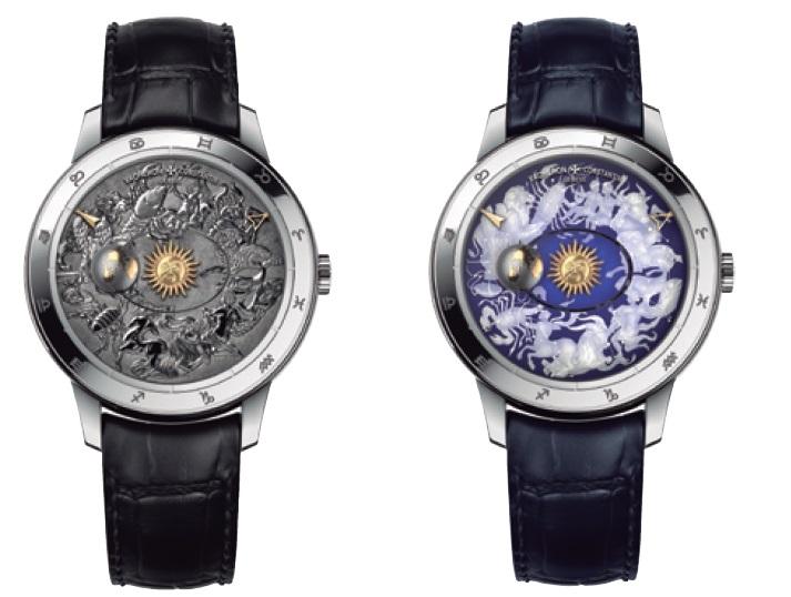↑(左)18Kゴールド製のダイアルに、ハンドエングレービングを施した地球&宇宙が美しい(右)ダイアルの黄道12星座のモチーフは、サファイアクリスタルにレーザー・エングレービングという独自の技法で装飾を施した
