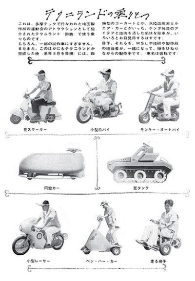 ↑オープン当初の多摩テックのバイク。右上には一般販売がはじまる前のモンキーの姿も