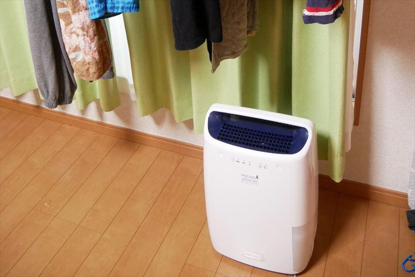 ↑真上に送風するので、洗濯物の真下に置くのがベスト