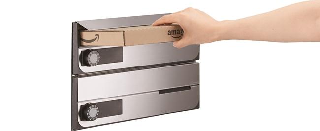 ロイヤルパークスERささしまで採用した郵便ポスト「D-ALL」(ディーオール)。Amazonからメール便で届く書籍段ボールや厚さ3cmまでokな日本郵便のレターパックも余裕をもって入る大口径の投入口が特徴