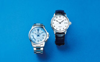 ↑写真右がセイコープレザージュ 琺瑯ダイヤルモデル SARX027。写真左がカシオ オシアナス 3ハンズモデル OCW-T150-2AJF
