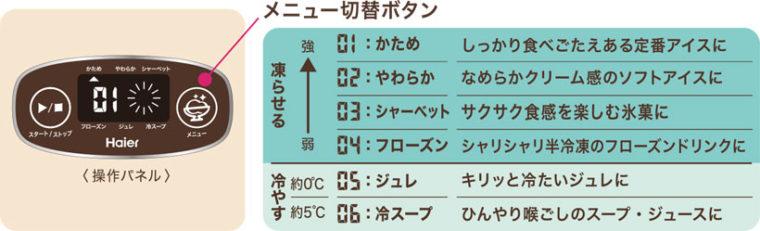 ↑メニュー切替ボタンから6段階の仕上がりが選択可能。「04フローズン」「05ジュレ」など、多彩な温度帯に対応しています