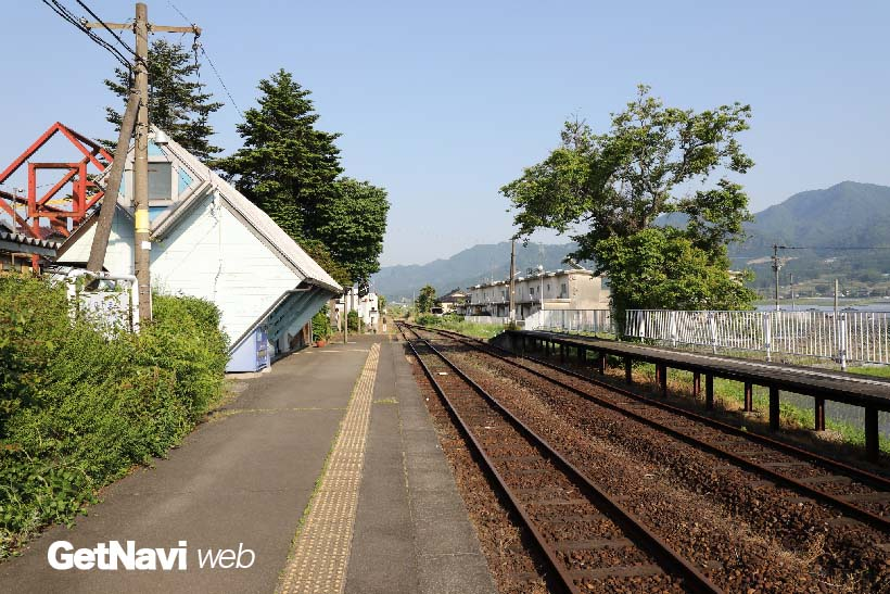 ↑(震災後)中松駅の構内。同駅と高森駅間には本数は少ないながらも列車の運転が始められている