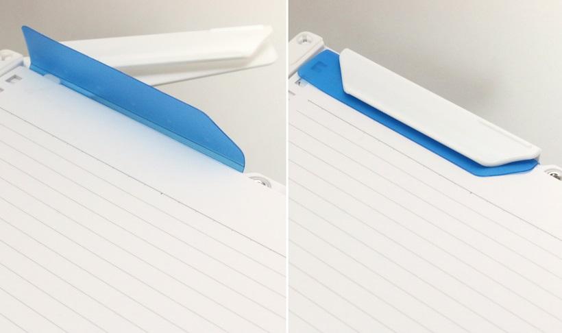 ↑紙押さえで紙を挟み込んで、羽根で固定するだけでOK!