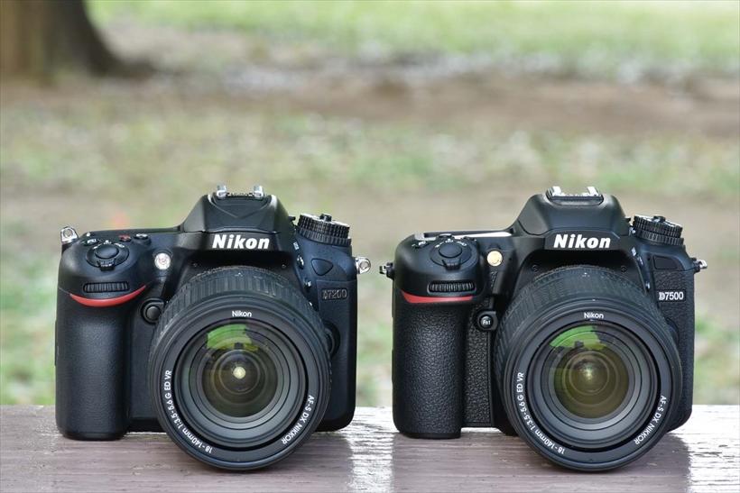 ↑D7500(右)とD7200。ボタンレイアウトなどに大きな変更はないものの、D7500は上位モデルD500同等のセンサー採用など、中身は大きく進化している