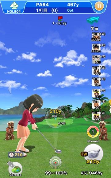 ↑「みんなでゴルフ」モード。現在はトライアル版で、ゆくゆくはルームを作って友達同士でコースを回れるそうです