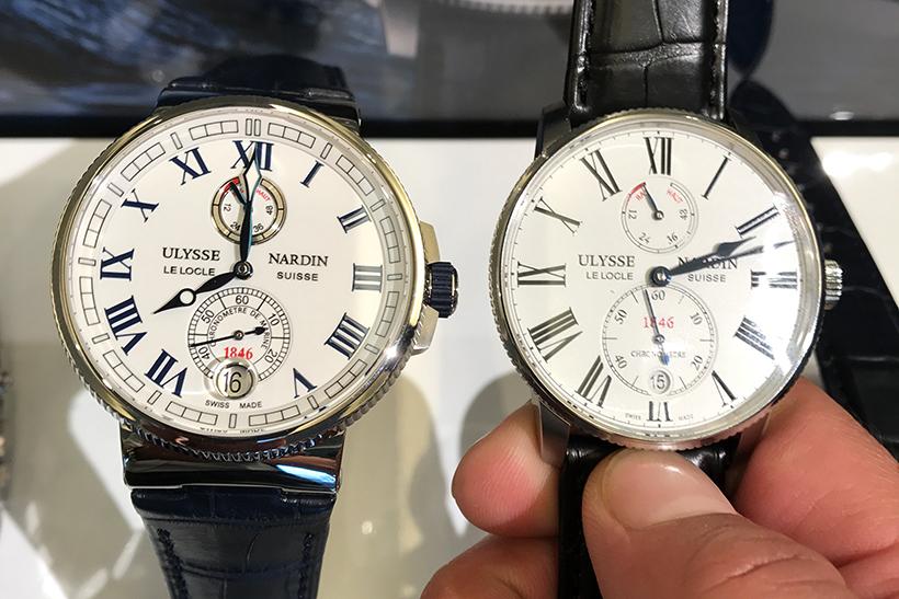 ↑右が新作「マリーン トルピユール」、左は「マリーン クロノメーター」。「マリーン クロノメーター」は、高精度時計の称号であるクロノメーターを製品名に冠し、外装設計も往年のデッキクロノメーターにならった意匠となっている