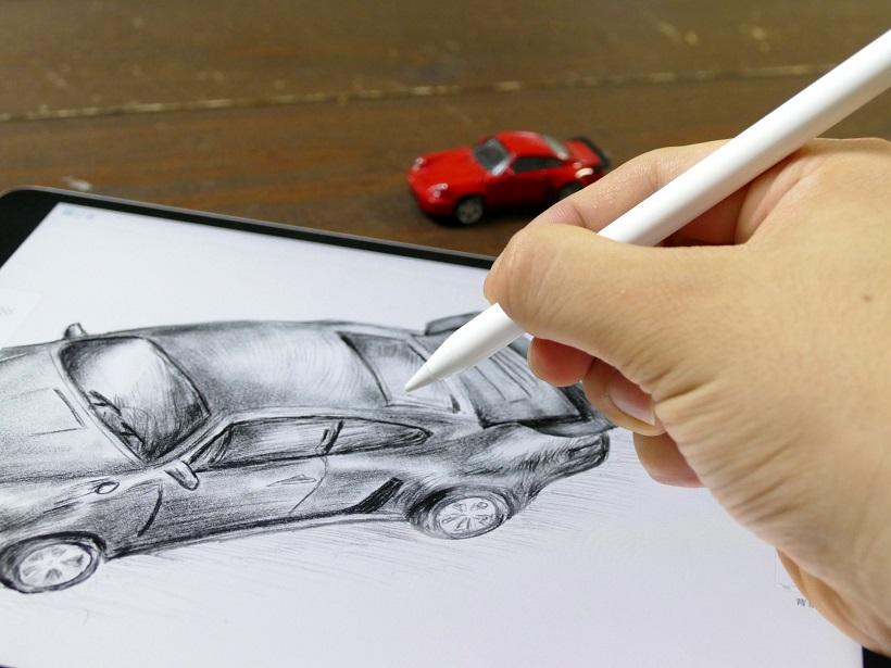 ↑「Apple Pencil」の描き心地はまるでリアルな鉛筆。Apple Pencilのサンプリングレートは240Hz。つまりiPad Proと毎秒24万回も信号をやりとりしている