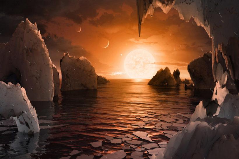 トラピスト-1の惑星のイメージ(写真=NASA)。