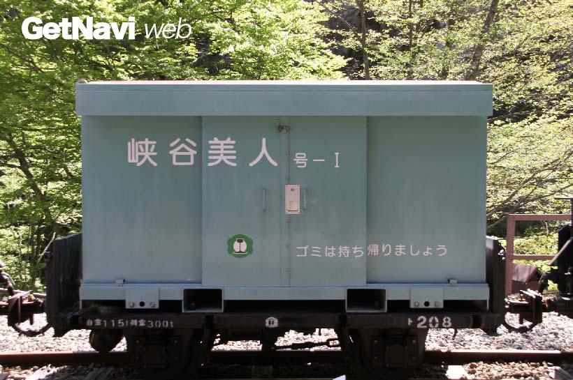 ↑「峡谷美人」と名付けられたゴミ運搬用のコンテナ貨物。ト形貨車に載せられて運ばれる