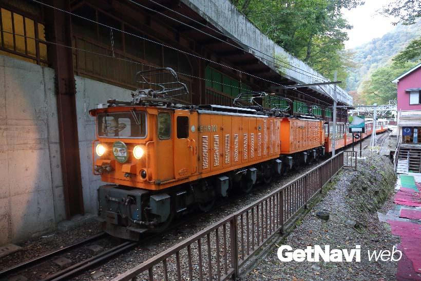 ↑EHR型機関車は、全国の私鉄で唯一の2車体連結構造を持つ機関車。黒部峡谷鉄道にも1編成しかない貴重な車両だ