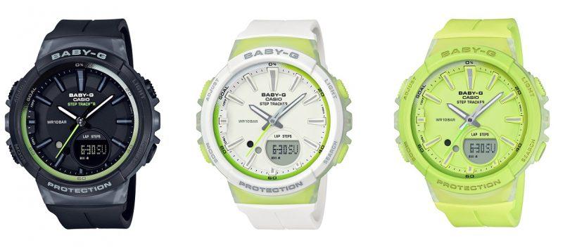 ↑BABY-G「BGS-100-1A(左)」「BGS-100-7A2(中央)」「BGS-100-9A(右)」17820円/10気圧防水/45.2×42.6×13.3 mm