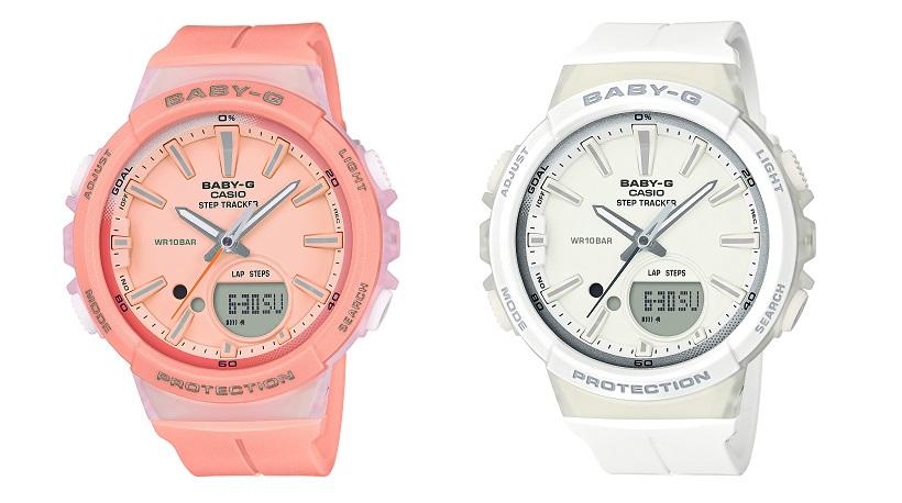 ↑BABY-G「BGS-100-4A(左)」「BGS-100-7A1(右)」17820円/10気圧防水/45.2×42.6×13.3 mm